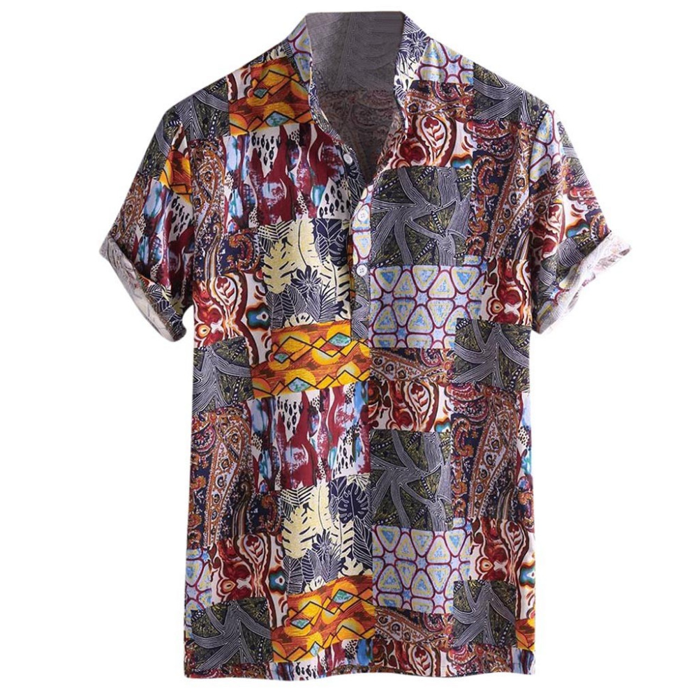 2019 men\`s cotton short-sleeved button-down shirt luxury summer shirt men short sleeve plus size outdoor sports shirt 40J11 (2)