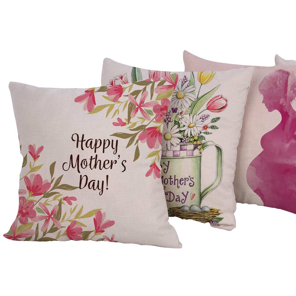 Silstar Tex 18 Inches European Style Happy Mothers Day Design Linen Cotton Pillow Covers Sofa Pillow Case Square Cushion Cover