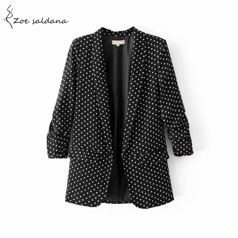 Zoe Saldana 2018 Women Polka Dot Blazer Turn-down Collar Notched Collar OL Blaser Femenino Casual Suit Tops