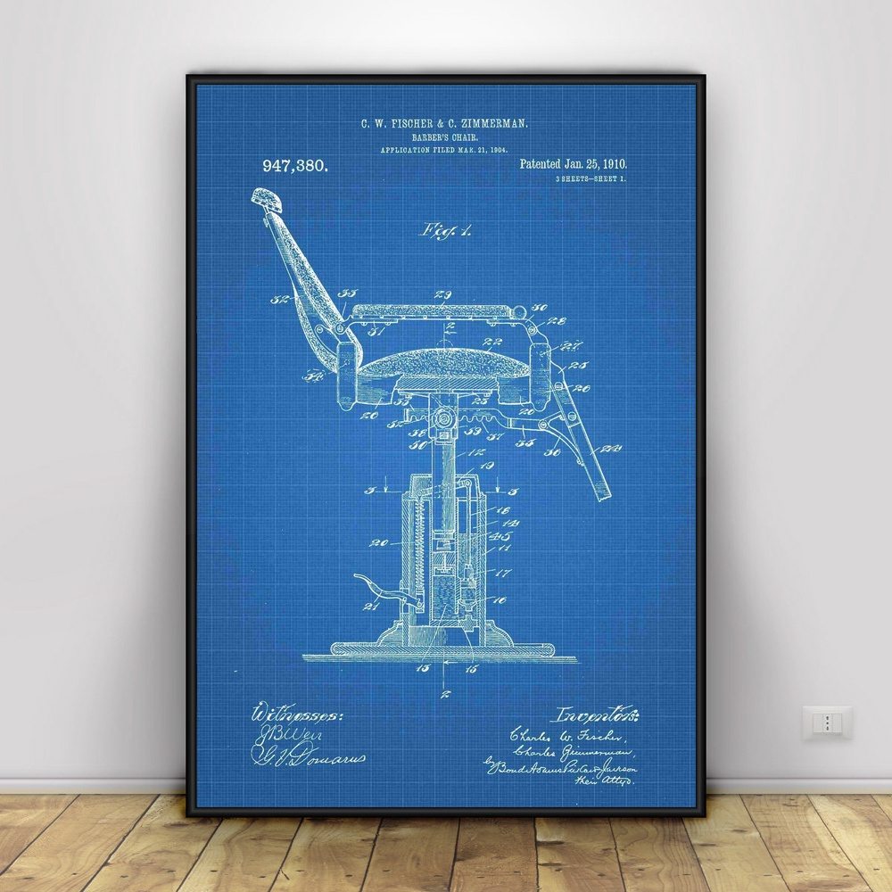 Barber Shop Chair Patent Print Art Silk poster Home Decor