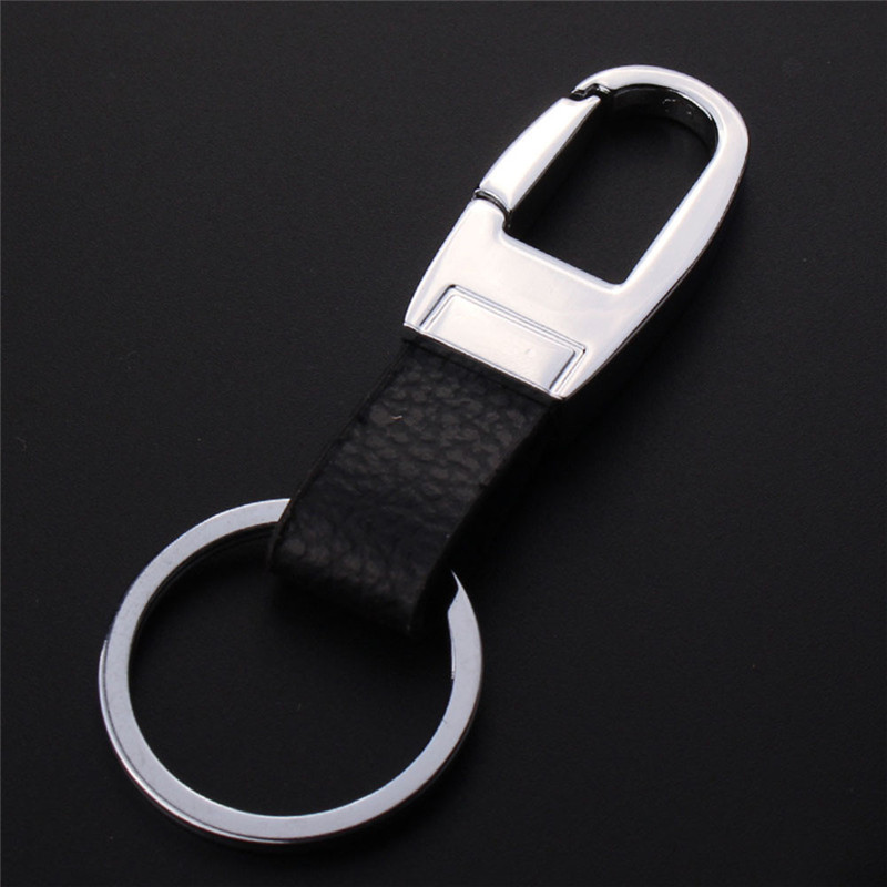 Black Leather Strap Keyring Keychain Key Chain Ring