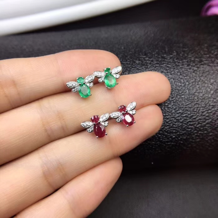 все цены на natural green emerald gem earrings 925 silver Natural red ruby grace Lovely Dragonfly Butterfly women girl party gift jewelry онлайн