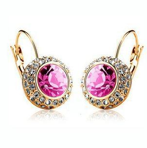 United States Crystal pink gem Moon River Earrings Excellent Streamline Silver Austria (pair) Ohrringe USA