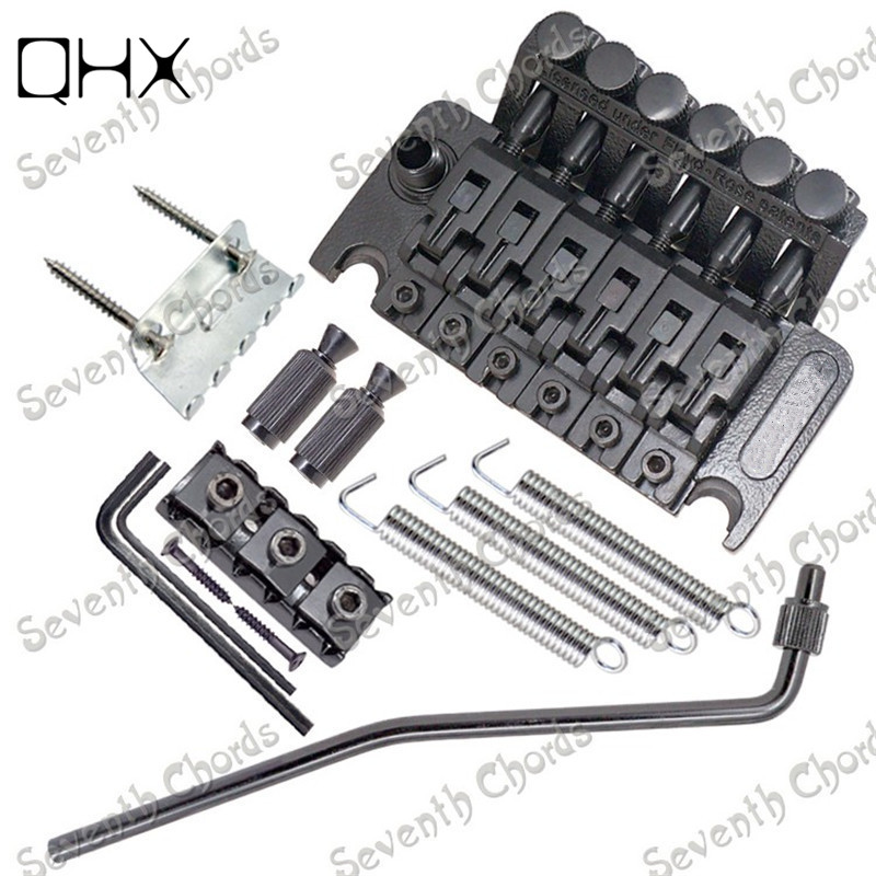 QHX A set Black Tremolo Bridge Double Locking Systyem guitar bridge Guitar parts Musical instrument accessories black bridge