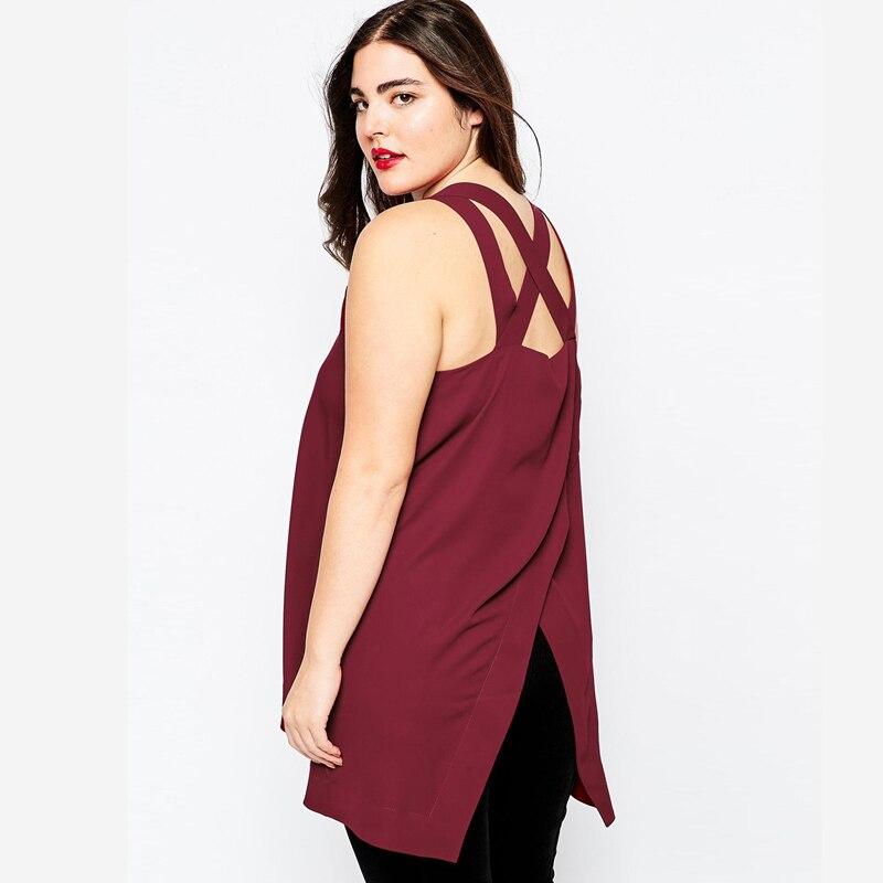 02 KM P246 hollow out sleeveless top plus size women tank top fashion sexy xxxl 4xl 5xl 6xl wine red (3)
