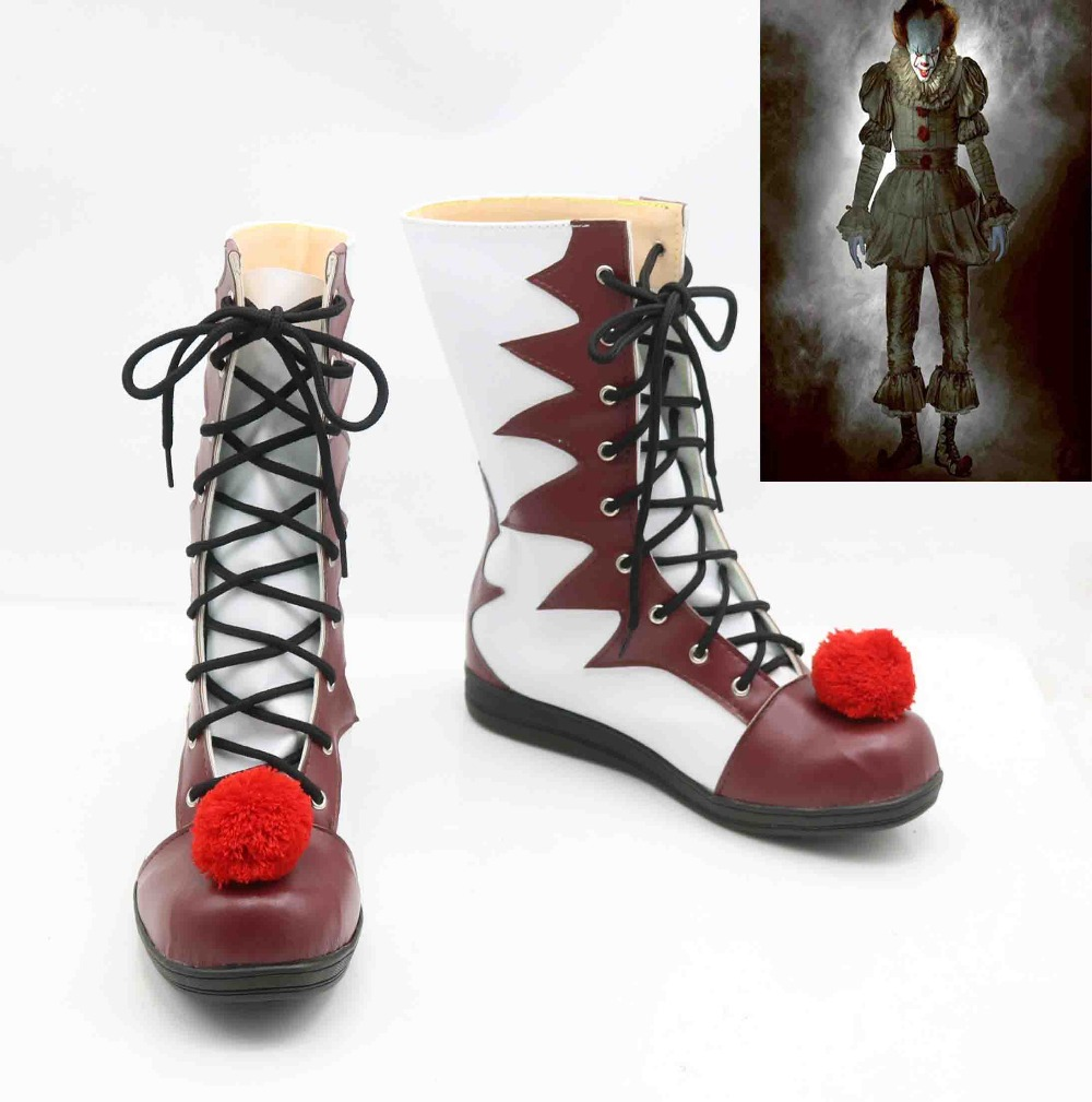 Halloween Stephen King's It Clown Pennywise Mens Women Cosplay Costumes Boots Shoes Custom-Made Props