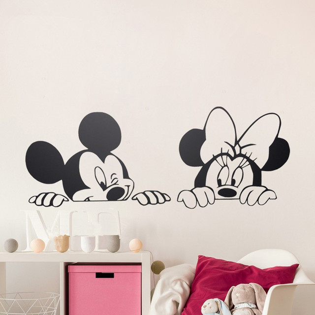 Cartoon Mickey Minnie Maus Niedlichen Tier Vinyl wandaufkleber Wandbild  Tapete Kindergarten Wandtattoo Home Decor