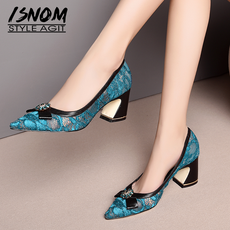 ISNOM Mesh Pumps Women Pointed Toe Footwear Crystal Leather Party High Heels Shoes Female Shallow Shoes Woman Summer 2019 New