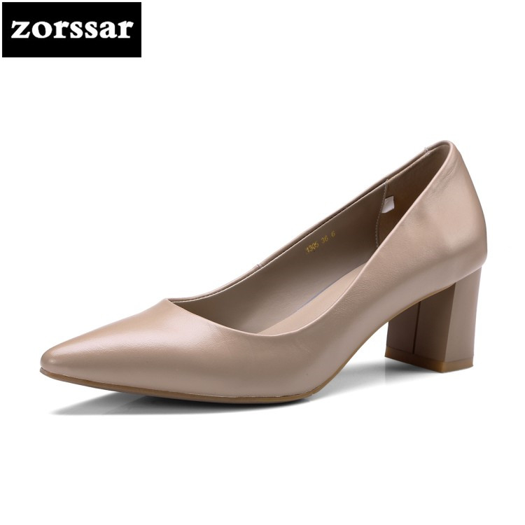{Zorssar} 2018 New Arrival Genuine Leather fashion womens shoes Comfortable thick heel pointed toe High heels ladies dress shoes new 2017 spring summer women shoes pointed toe high quality brand fashion womens flats ladies plus size 41 sweet flock t179