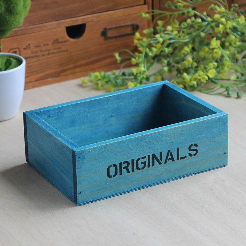 Zakka retro wooden desk box cosmetics box rectangular wooden box finishing meat pot