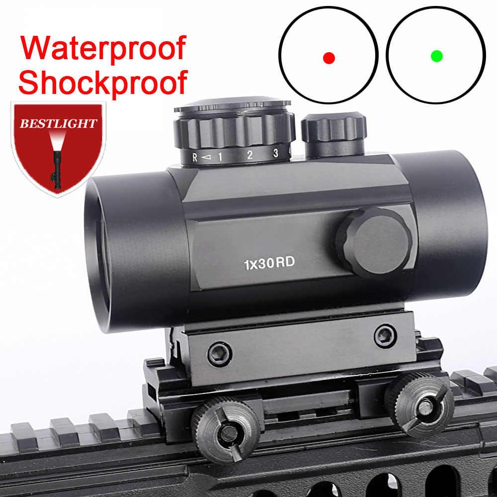 Mira telescópica táctica 1X30 con punto holográfico, Airsoft, rojo, verde, punto óptico, mira para caza, 11mm, 20mm, montaje en Riel, visor colimador