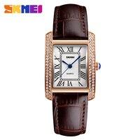 SKMEI Ladies Fashion Quartz Watch Women Rhinestone Leather Casual Dress Women S Bracelet Watch Reloje