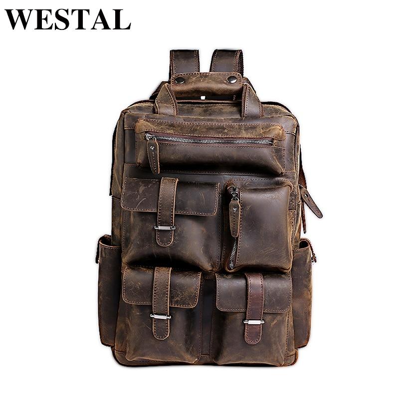 WESTAL Men Backpacks Male Messenger Multi functional Genuine Leather Travel Bag Business bag for Laptop Shoulder 3506