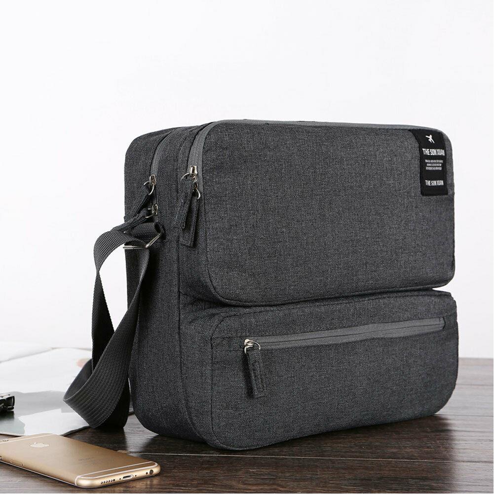 Fashion Men's Travel Bag Casual Large Capacity Shoulder Bag Nylon Solid Color Multi-layer Document Storage Bag