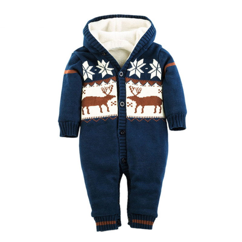 Newborn Boys Girls Romper Thick Warm Cotton Knitted Sweater Christmas Deer Hooded Outwear Winter Kid Infant Jumpsuit 2017 baby rompers winter thick climbing clothes newborn boys girls warm romper knitted sweater christmas deer hooded outwear