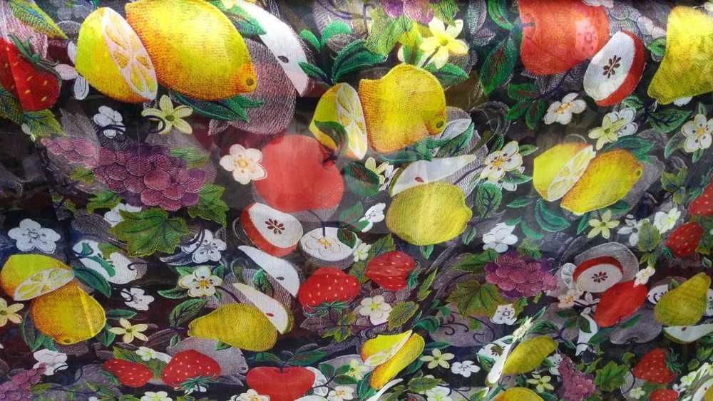 100% г. новый дизайнер чистый шелк тутового шелкопряда шифоновая ткань Фрукты Цветы Печать рубашка одежда платья украшения шарф tissu