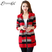 Hooded Long Knitted Sweater Coats Women Autumn 2017 New Jackets Cardigan Top Stripe Clothes Loose Outerwear abrigos mujer LH214
