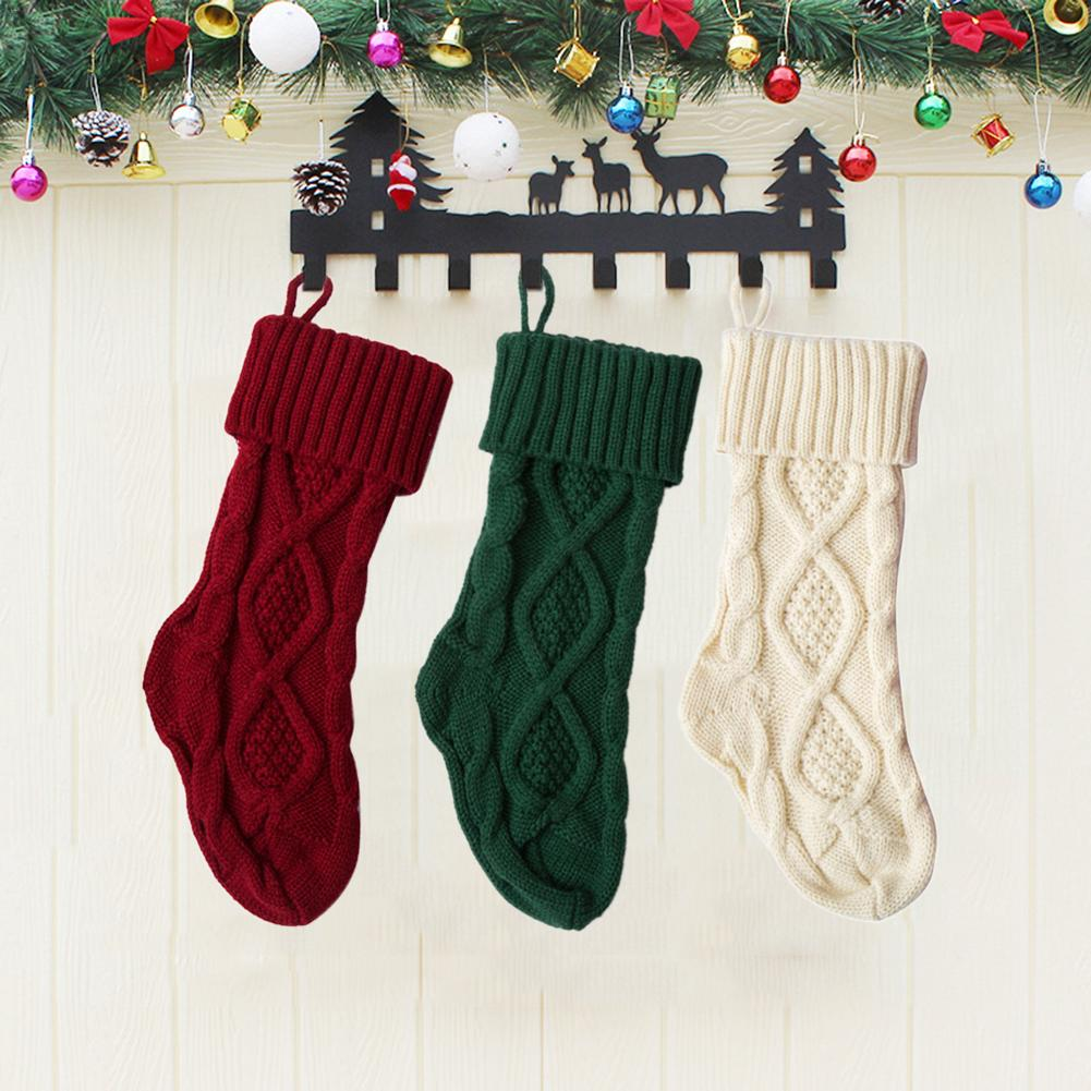 Knitted Christmas Stockings.Us 3 16 36 Off Knitted Christmas Stockings Christmas Candy Gift Bag Fireplace Decoration Christmas Decorations For Home In Stockings Gift Holders