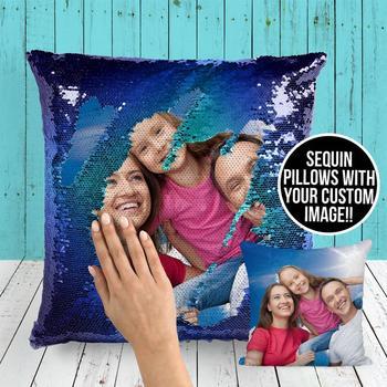משפחת תמונה נצנצים כרית כיסוי מותאם אישית תמונה הפיך נצנצים בת ים ציפית דקורטיבית יום הולדת כרית מתנה