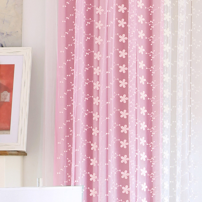 Window Curtain Living Room Embroidery Tulle Home Decor Blind Fabric Princess Panel Blue Pink D Bedroom