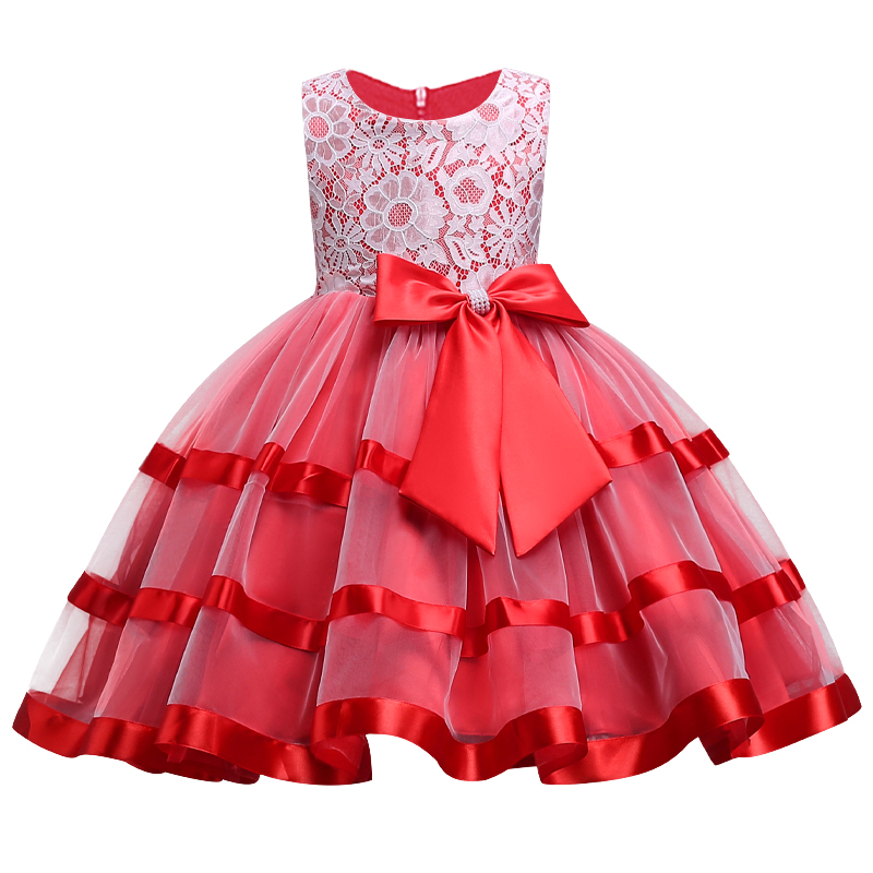 2018 Kids   Flower     girl     Dresses   for Lace Bow Tutu   Dress   Elegant Wedding Pageant Christmas Princess Party   Dress     Girls   Clothes