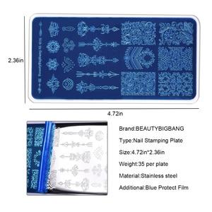 Image 3 - Beautybigbang placas de carimbo 6*12cm nuvem estrela bonito unicórnio padrão prego arte molde ferramenta acessórios carimbar placa impressão XL 081