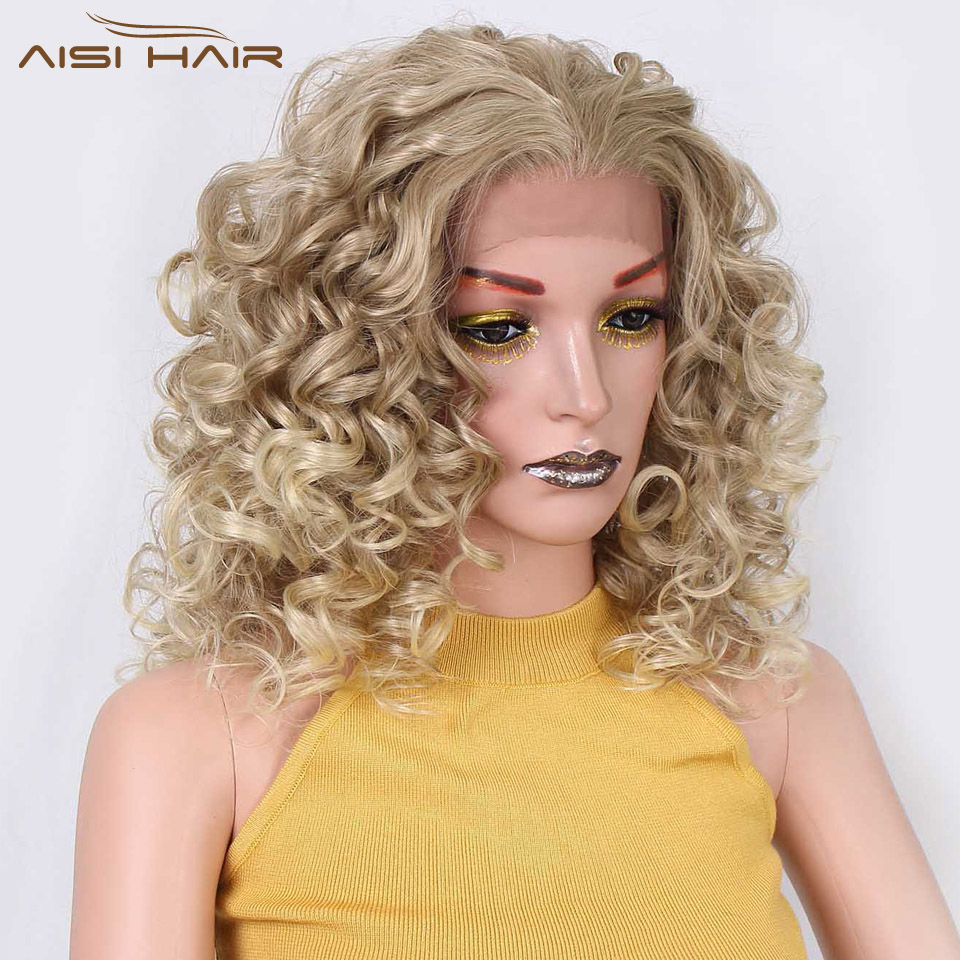 I's a wig 18 inch Short Blonde Curly Synthetic Lace Front Wigs for Women Natural Hair Heat Resistant Fiber