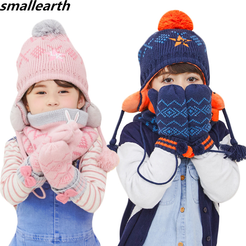 Winter Children Warm Thick Hat Scarf Gloves 3pcs Sets Knitted Baby Kids Hats Girl Boy Beanies Caps Child Neck Collar Gloves Set