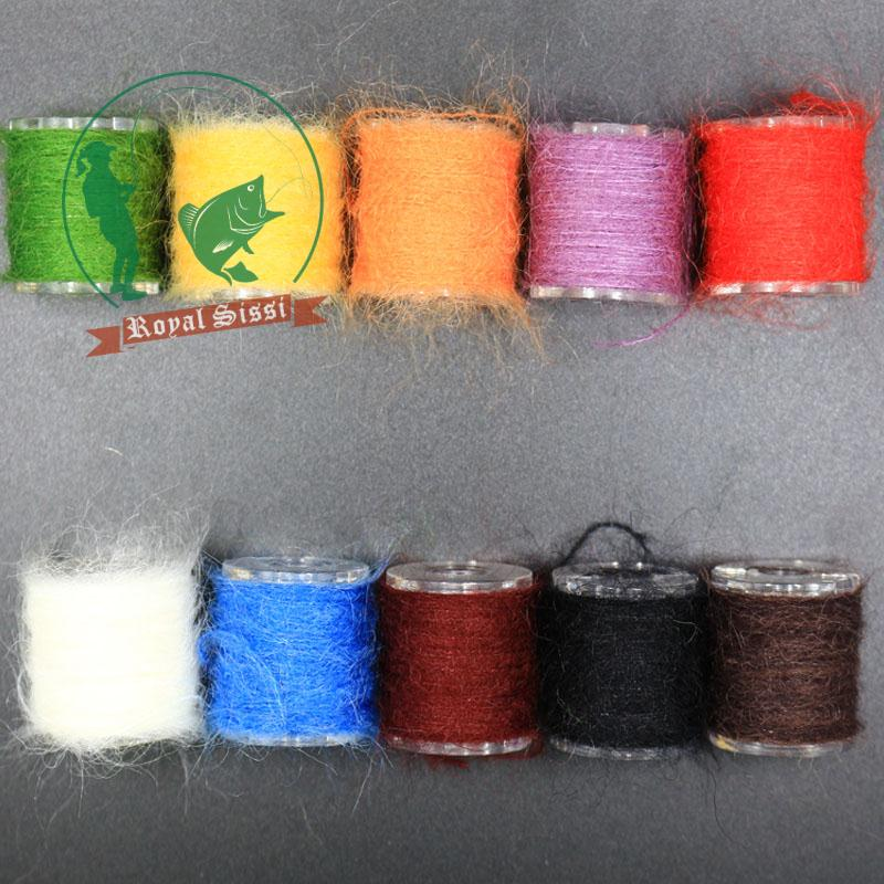 10 spools multi colors long hairy Dubbing Line yarn fibers for nymphal bugs&Scud Sand Worm Total 100M Fly fishing Tying material