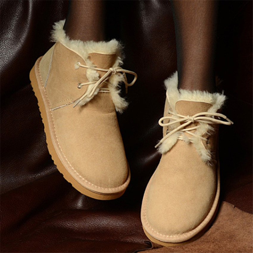 grwg New Style 2018 Best Genuine Sheepskin Leather Woman Snow Boots 100% Natural Fur Snow Boots Warm Wool Women's Winter Boots