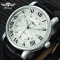 Автоматические часы WINNER  мужские брендовые роскошные механические часы с белым циферблатом и кожаным ремешком  с двойным дисплеем даты  мин...
