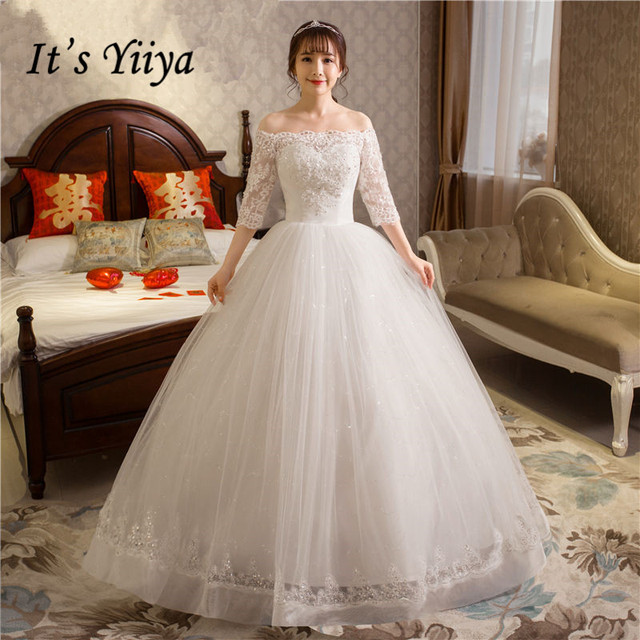 Free Shipping New 2017 Summer Boat Neck Lace Bling Sleeve Wedding