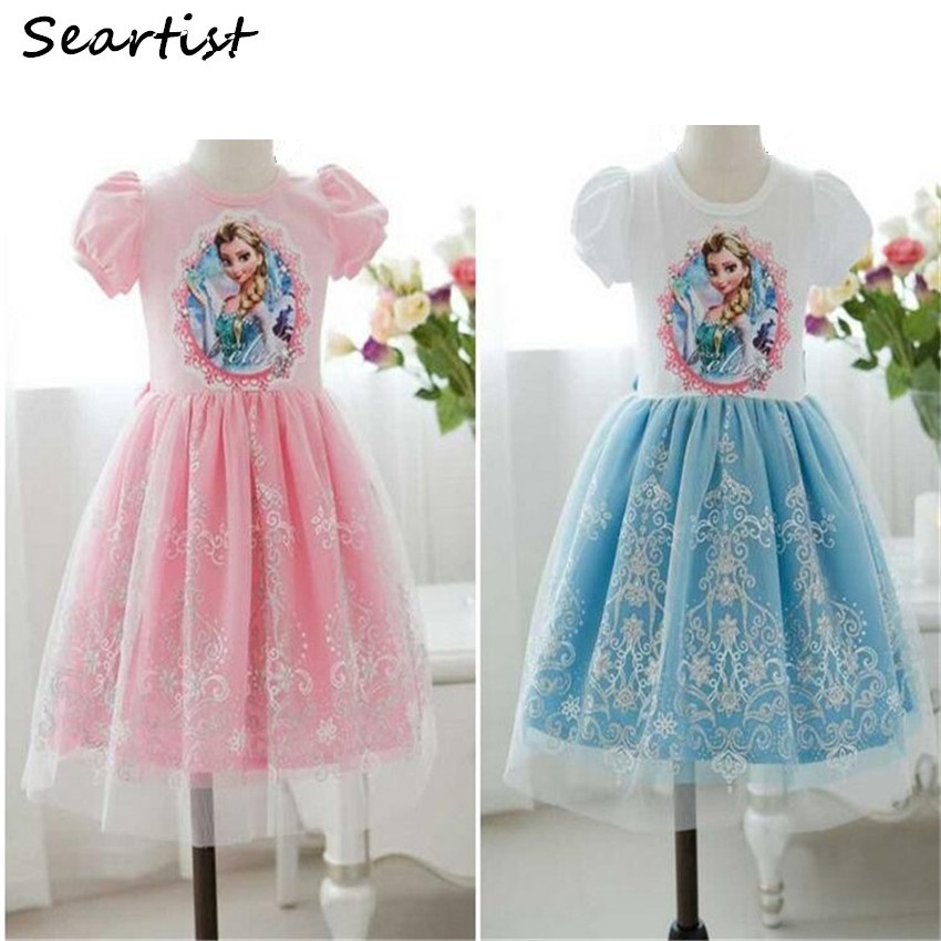 Seartist 2018 Girls Frozen Dress Princess Elsa Dresses Girl Clothes Summer for Party Birthday Wedding Dresses Baby Dress