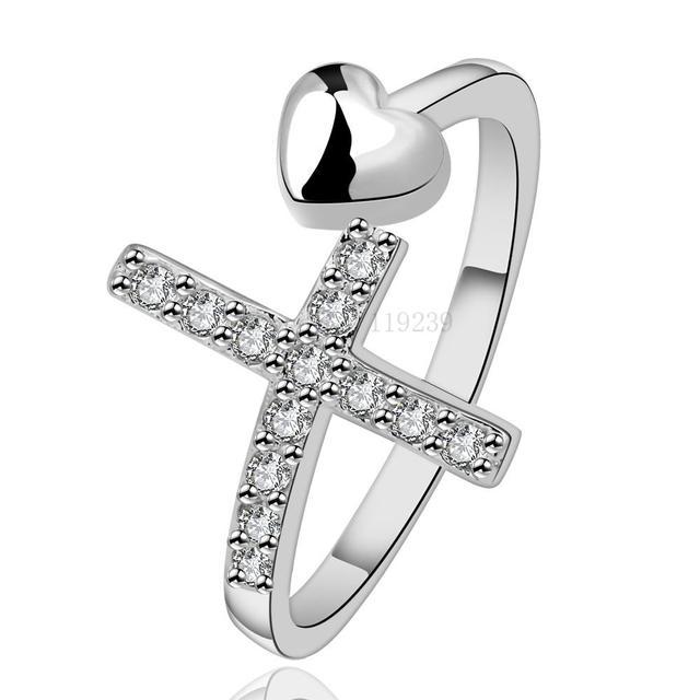 0307664d0d4f Ir592 venta al por mayor 5 unids lotes ventas plateado plata cruz del amor  del corazón