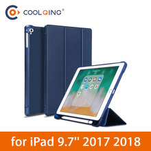 TPU Soft Tablets Case For iPad 9.7 2017 2018 Protective Cover Tri-folded Tablet Case With Pencil Slot For iPad 2018 Case iPad9.7 стоимость