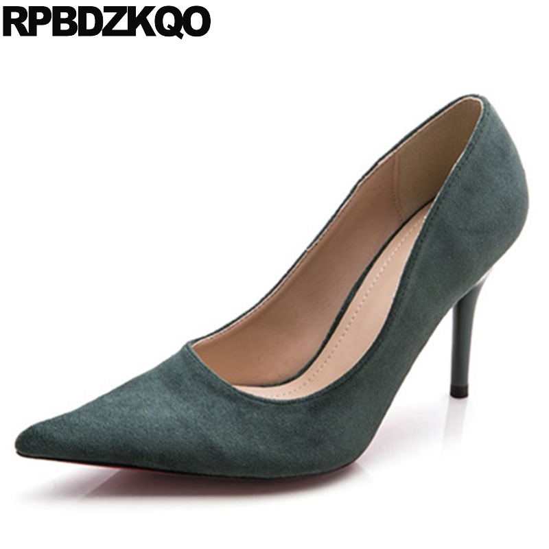 Suede 2017 Size 33 Pumps Thin High Heels Pointed Toe Office European Stiletto 3 Inch Women 4 34 Green Spring Fashion Chinese pointed toe dress shoes ladies pumps high heels ankle strap footwear 4 34 small size crystal stiletto 2017 7cm 3 inch silver