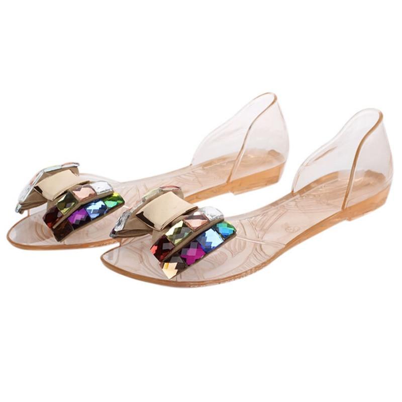 HEE GRAND Women Sandals Summer Bling Bowtie Fashion Peep Toe Jelly ...