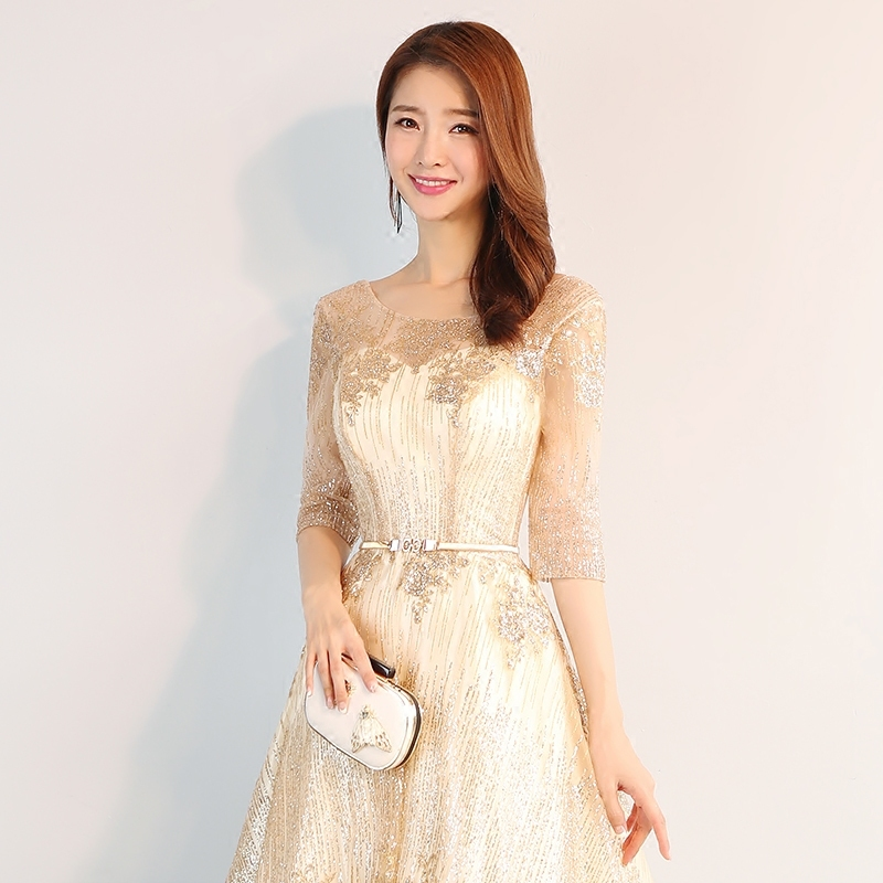 Ladies Evening dresses Beauty Emily new homecoming dresses fashionable soft champagne evening dress elegant belt party gowns in Evening Dresses from Weddings Events