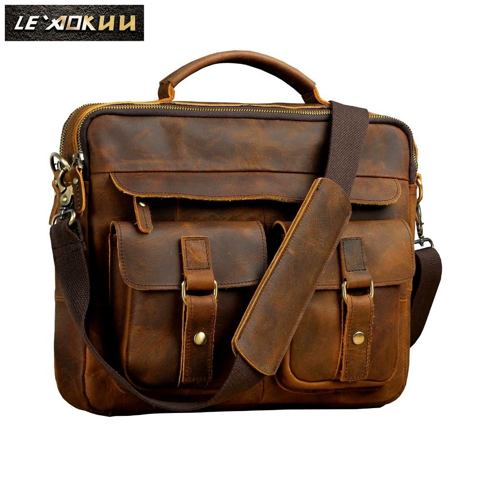Men Quality Leather Antique Retro Business Briefcase 13
