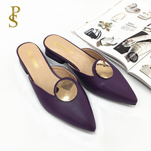 Ladys slippers with pointed toes Square   heeled womens summer slippers