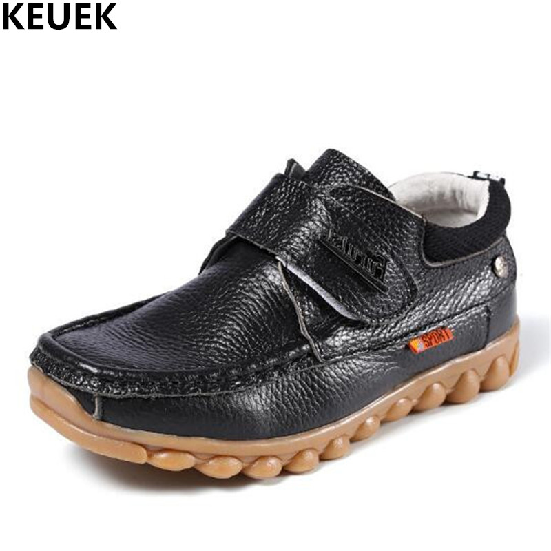 New Full Grain Leather Shoes Boys Genuine Leather Children Casual Baby Toddler Brown Black Dress Shoes Student Kids Flats 03