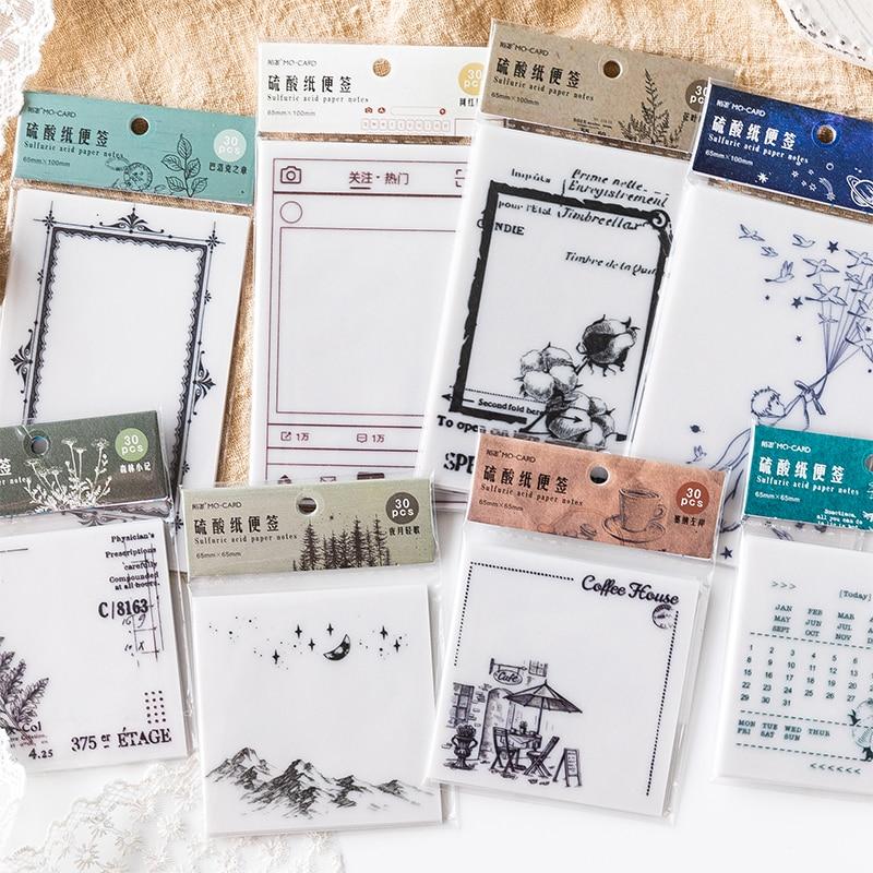 Vintage Retro Plant Memo Pad Border Multi Folding Writing Pads Label Mark Kawaii Stationery School Office Supplies