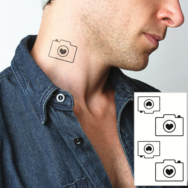 Black Camera Flash Tattoo Hand Sticker 10 5 6cm Small Waterproof