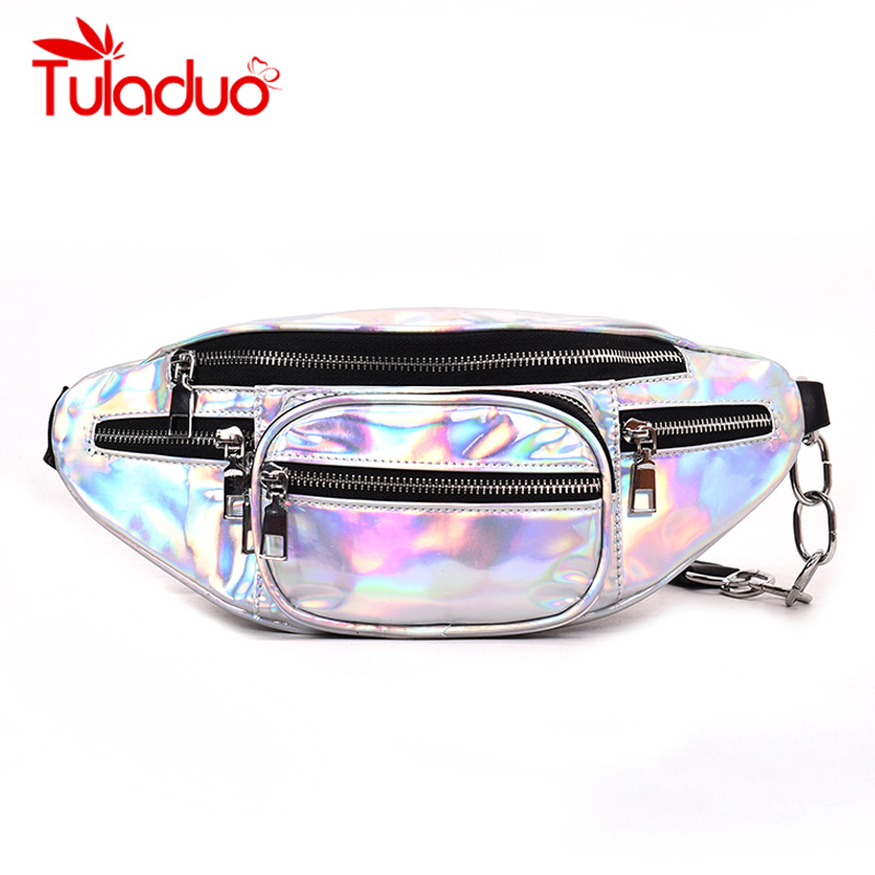 2018 Waist Bags Fanny Pack For Women Rainbow Transparent Bag Classic Trendy Unisex Waist Pack Belt Bag Women's Waist Bag Bolsa waist bag