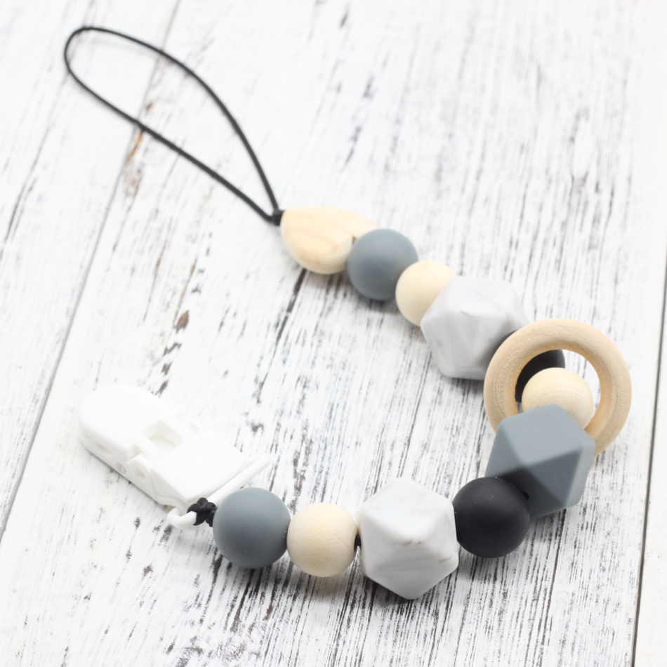 Silicone And Wood Pacifier Clip Wooden Bead Dummy Clip Holder Cute Pacifier Clips Soother Chains Baby Teething Toy For Baby Chew
