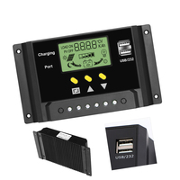 30A Solar Charger Controller 12V/24V Solar Panel Battery Intelligent Regulator with Dual USB Ports, LCD Display