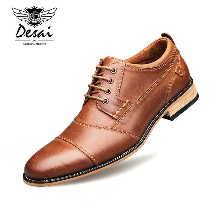 b84f012cc3b 2018 New Autumn Men s Business Dress Shoes Genuine Leather England Fashion  Casual Oxfords Shoes Classic Three