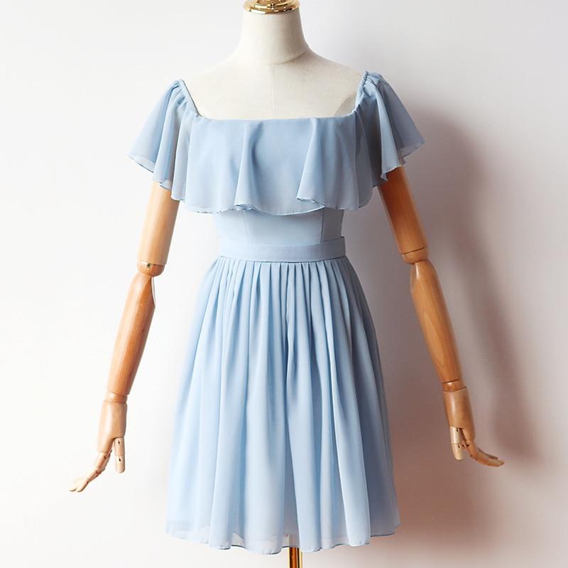 Blue Mini   Dress   Chiffon   Dress     Bridesmaid     Dress   for Wedding Party