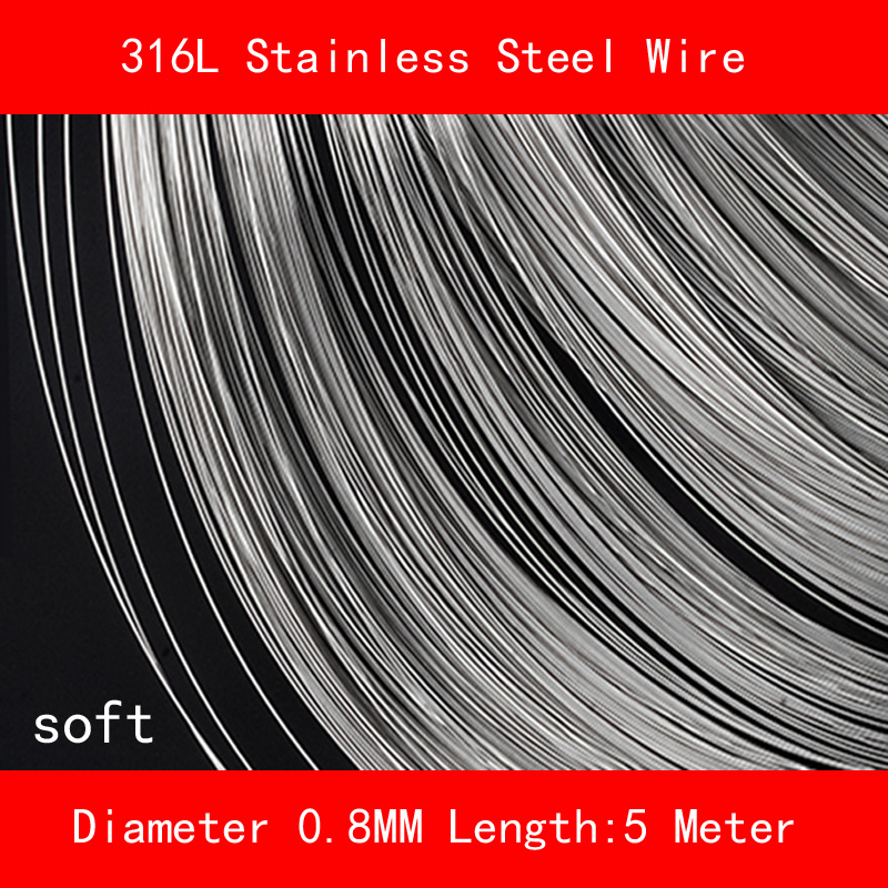 316L Stainless steel wire soft Diameter 0.8mm Length 5 meter 0 8mm 304 stainless steel wire bright surface diy materialhard steel wire cold rolled