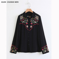 XUANCHURANWEN Autumn Embroideri Blouse Long Sleeve Women Floral Turn Down Collar Ladies Tops Casual 2017 Slim